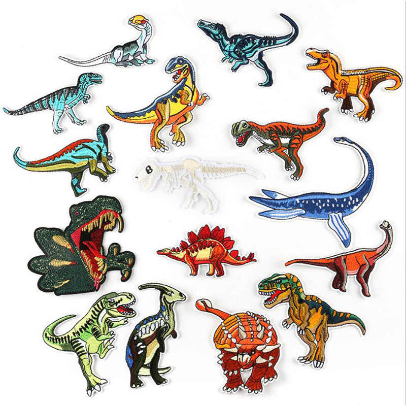 Cartoon Jurassic Park Patch Dinosaurus DIY Geborduurde Patches Voor Kleding Ijzer Op Flarden Badge Op Kleding Sticker Applicaties