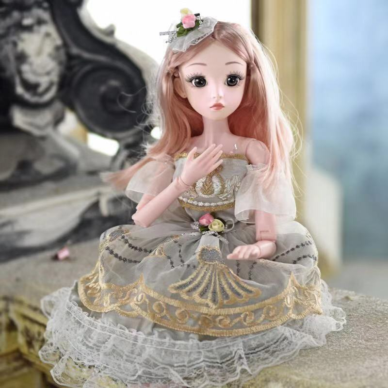 60cm <font><b>Bjd</b></font> Doll Fashion Girl 20 Movable Joints Romantic Princess Realistic Baby Dolls For Girls Toys For Children Birthday Gifts image