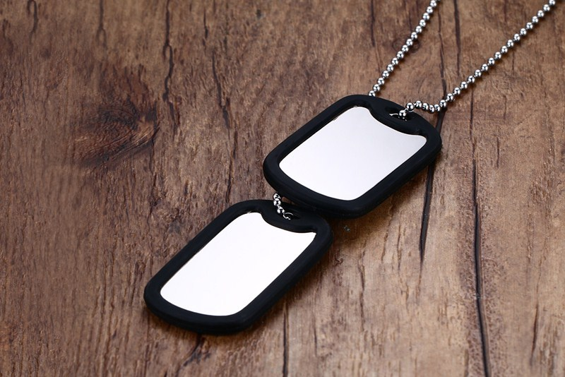 Western Style Popular Ornament 52 Mm Stainless Steel Double Tag Black And White With Pattern Men Military Plates Pn-724