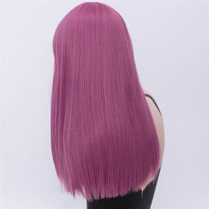 Image 3 - MSIWIGS Long Straight Cosplay Green Wigs Synthetic Wig for Women Purple Hair with Cut Bangs