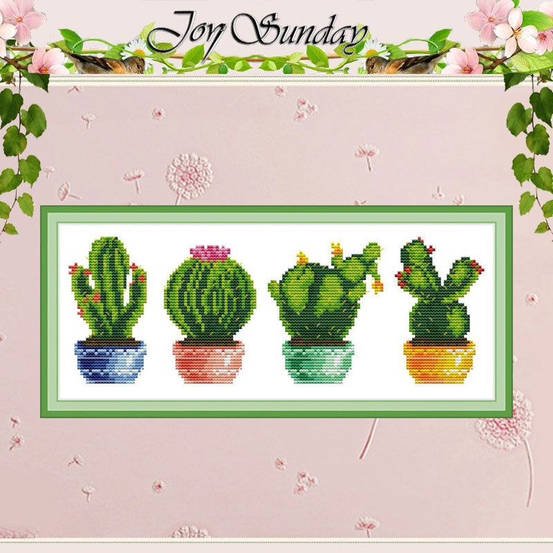 Cactus Plant Painting Counted 11CT 14CT Cross Stitch Set DIY DMC Chinese Cross-stitch Kit Embroidery Needlework Home Decor