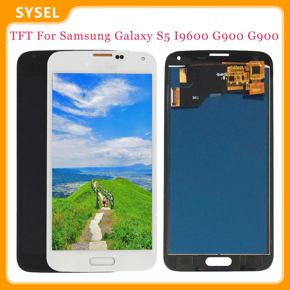 TFT For <font><b>SAMSUNG</b></font> Galaxy S5 i9600 G900 G900A <font><b>G900F</b></font> LCD <font><b>Display</b></font> Digitizer + Touch Panel Screen Assembly image