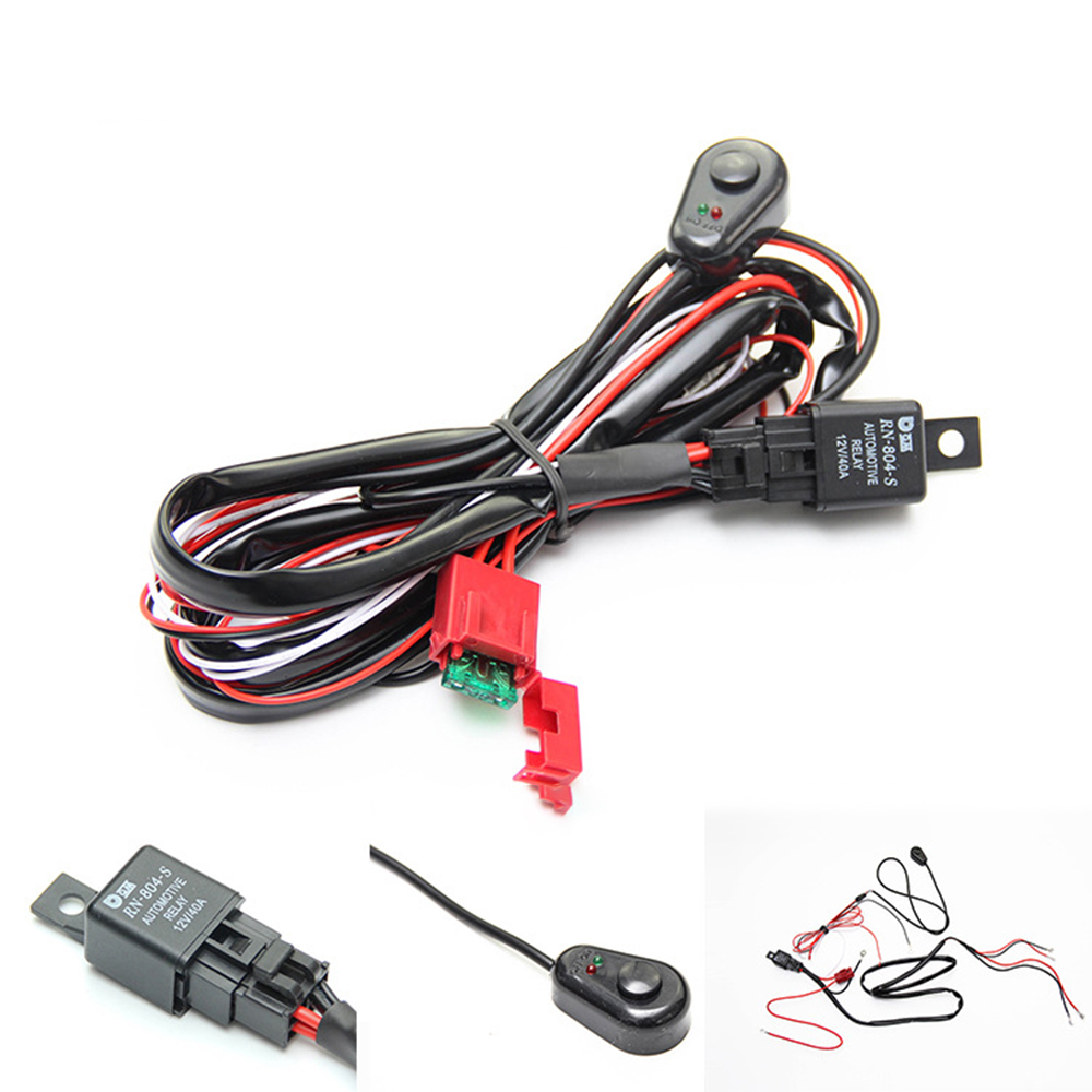 12V 4.5A Car Cable Wiring Harness Kit With ON/OFF Switch Relay Blade Fuse For LED Light Bar Fog Lamp Automobile