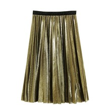 Fashion Women Metallic Silver Skirt Midi High Waist Long Pleated Party Club Ladies Clothes