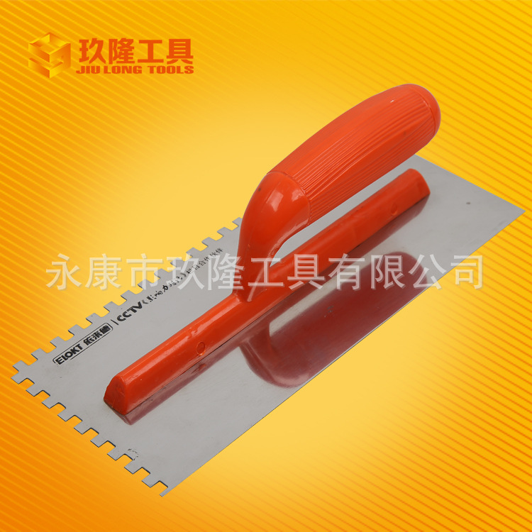 Factory Direct Steel Tools Trowel Plastic Handle Wiping Fender Toothed Trowel Board Wholesale Bricklayer Tool