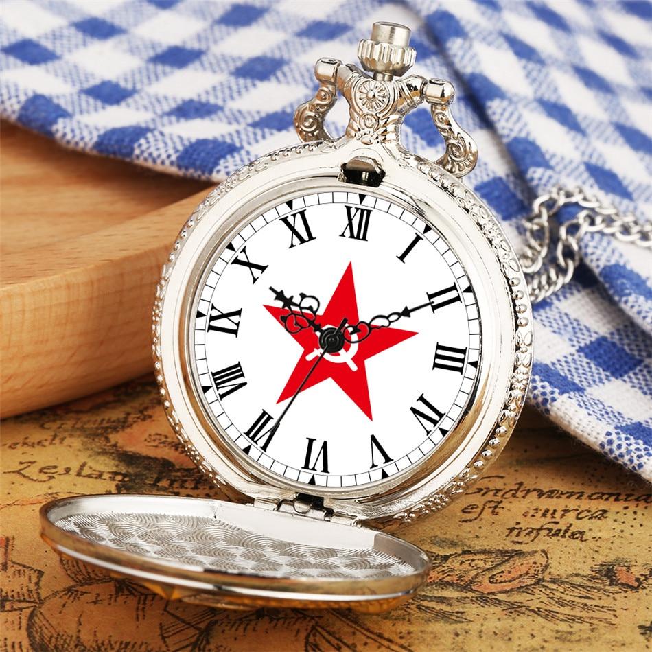 CCCP Souvenir Antique Quartz Pocket Watch Red Star Hammer and Sickle Roman Numeral Dial Necklace Pendant Necklace Pocket Clock