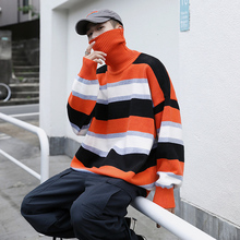 Winter Thick High Collar Sweater Men Warm Fashion Contrast Color Casual Knit Sweaters Man Sweter Loose Striped Pullover Men men contrast binding striped tee