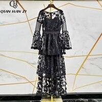 Qian Han Zi 2019 Designer Fashion Runway Maxi dress Women'sFlare sleeve brand retro mesh embroidered lace applique long dress