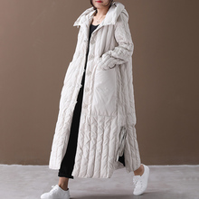 Long-Coat Large-Size Women Winter Hooded Down-Fabric Big-Pocket Fashion for Loose Single-Breasted