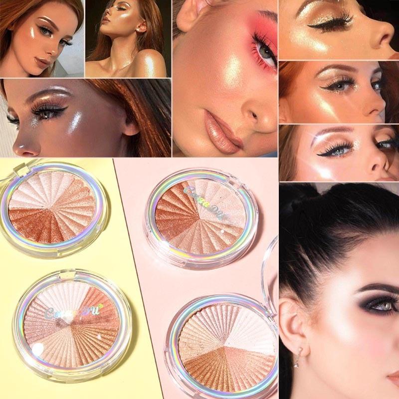 Cmaadu Face Shimmer Highlighter Bronzer Powder Palette High-gloss Contouring Makeup Body Glitter Illuminator Highlight Cosmetics