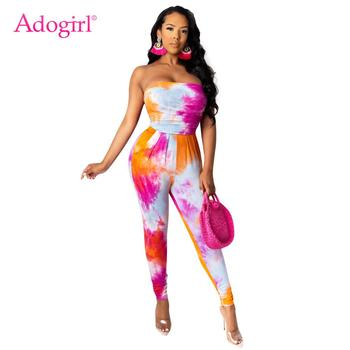 Adogirl Sexy Tie Dye Print Skinny Jumpsuit Tracksuit Casual Strapless Stacked Pants Suit Fashion Female Romper Overall Onesies