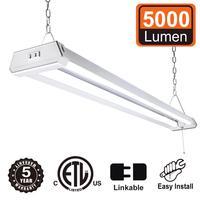 42W Linkable Super Bright 5000Lumen 4ft LED Utility Shop Light with Plug Wraparound Light 5000K Daylight White Linear Worklight