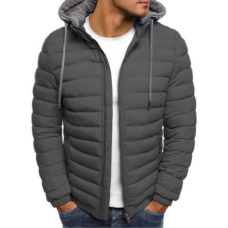 Lightweight Warm Winter Jacket Men Parkas Mens Striped Solid Zipper Pocket Trench Cotton Hoody Parkas Male 2019 Clothing