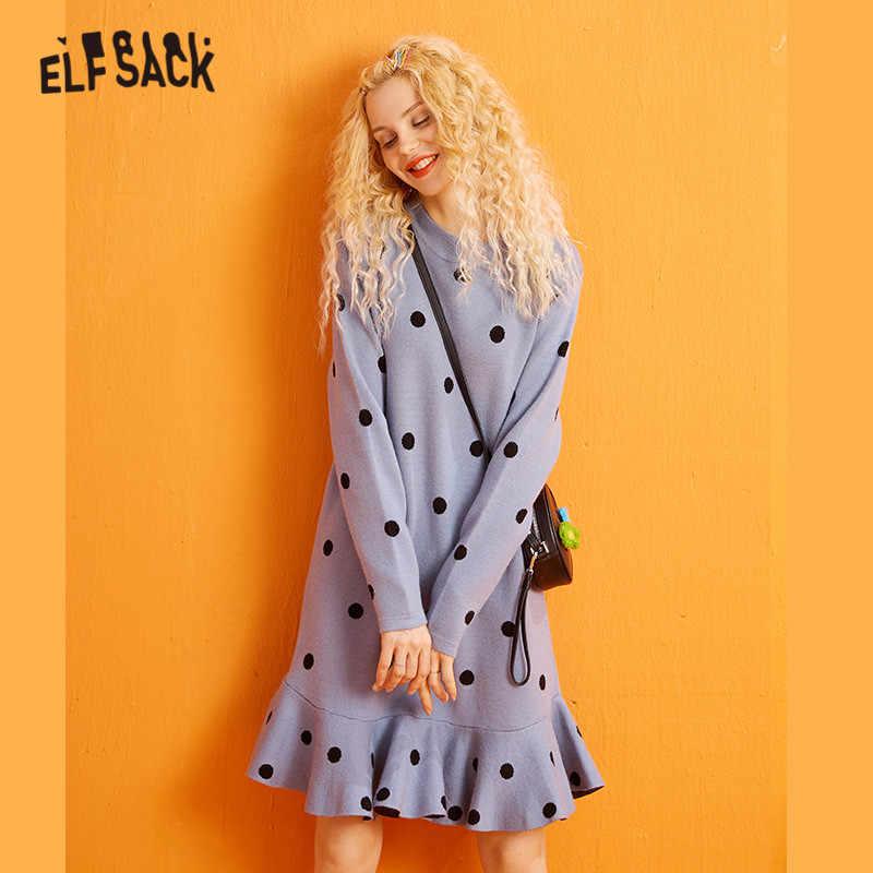 Elfsack Nhiều Màu Chắc Chắn Chấm Bi Đầm Suông Nữ Mùa Đông 2019 Phong Cách Hàn Quốc Loe Tay Dài Công Sở Nữ Căn Bản Áo