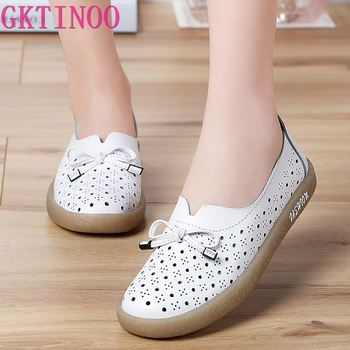 GKTINOO 2020 Genuine Leather Shoes Hollow Out Women Ballet Flats Summer Women's Solid Soft bottom Shoes Woman Slip On Loafers timetang genuine leather shoes women solid loafers women flats ballet spring summer flat shoes woman moccasins factory outlet