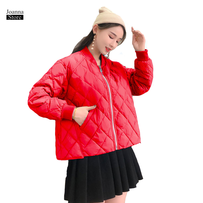 Duck   down   jacket women basic plaid jackets simple   coat   winter warm short plus size slim   coats   thick korean new casual clothes
