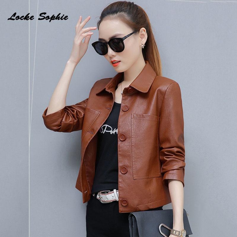 Women's Plus size short jacket coats 2019 Autumn faux fur PU   Leather   Splicing Big pocket Jacket ladies Skinny locomotive coats