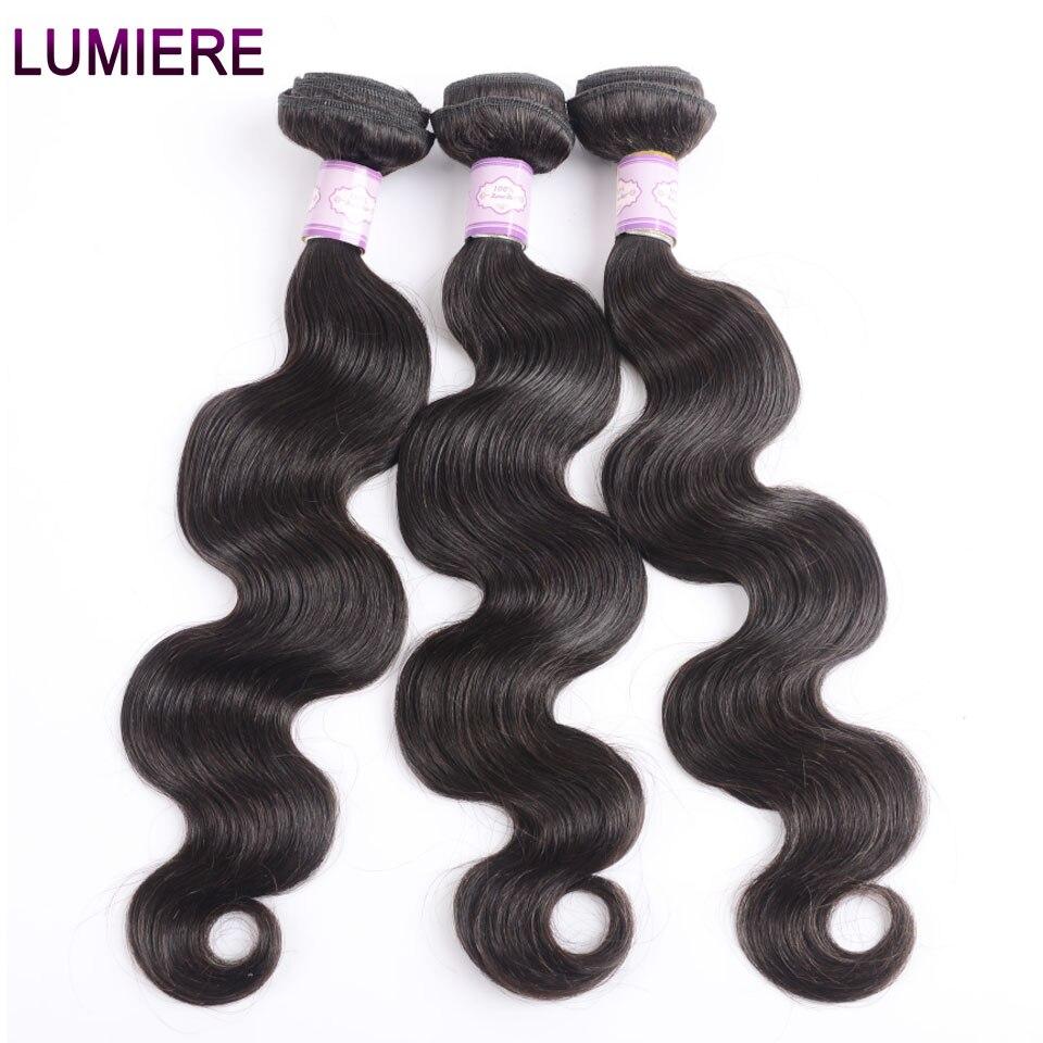 Lumiere Hair Body Wave 3/4 Bundles Deals Indian Hair Weave Bundles 100% Human Hair Natural Black Remy For Women 100g/pc