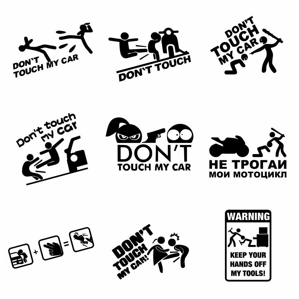 Free Shipping Don't Touch My Car Cars Sticker Funny Creative Wrap Vinyl Decals On Auto Window Car-Styling Decor Accessories
