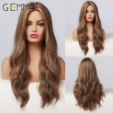 Highlight Wigs Body-Wave Brown GEMMA Heat-Resistant-Hairs Cosplay Natural Long Black Women