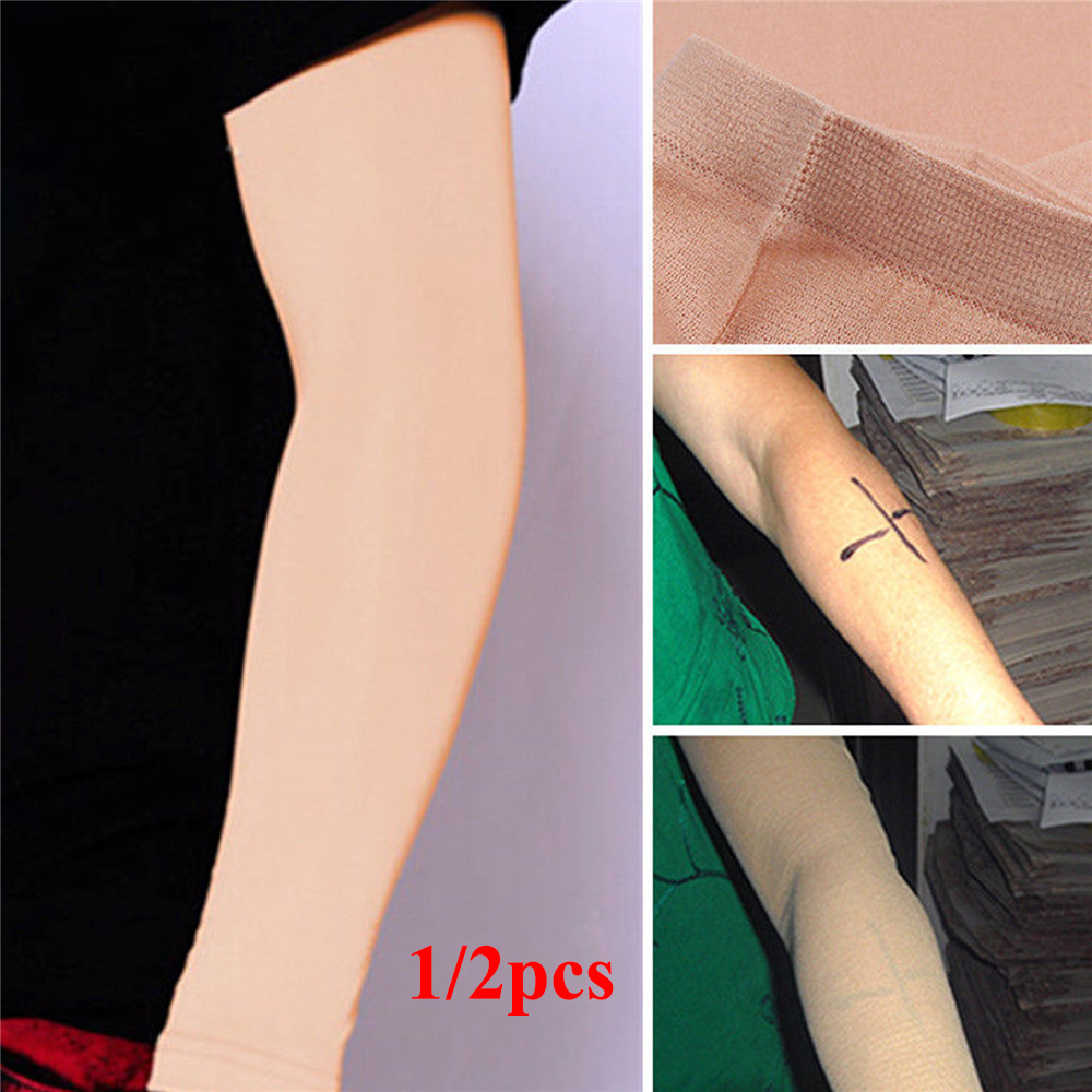Unisex Tattoo Cover Up Compression Sleeves Bands Forearm Concealer Support Skin Color Aftercare UV Protection Oversleeve