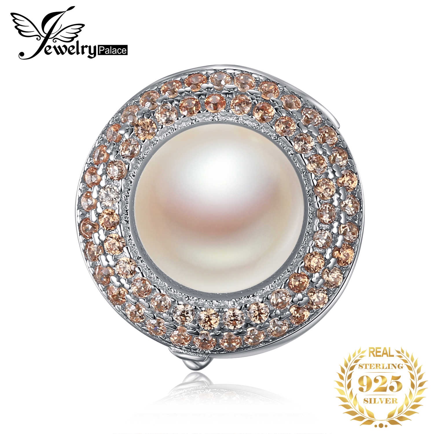 JewelryPalace Hollow Flower Round Cut Halo Pearl Taupe Cubic Zirconia Locket Pendant 925 Sterling Silver Not Include A Chain