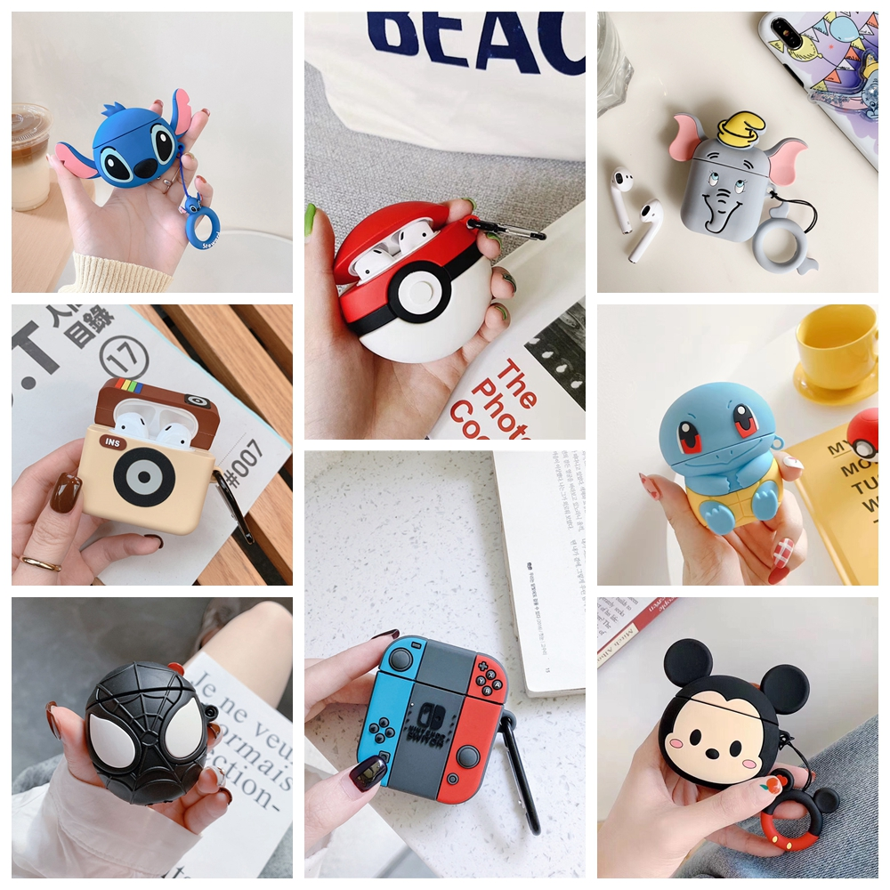 Cute Cartoon Earphone Case For Airpods 2 1 Case Wireless Bluetooth Headphones Case Cute Minnie Mickey Headsets Protective Cover