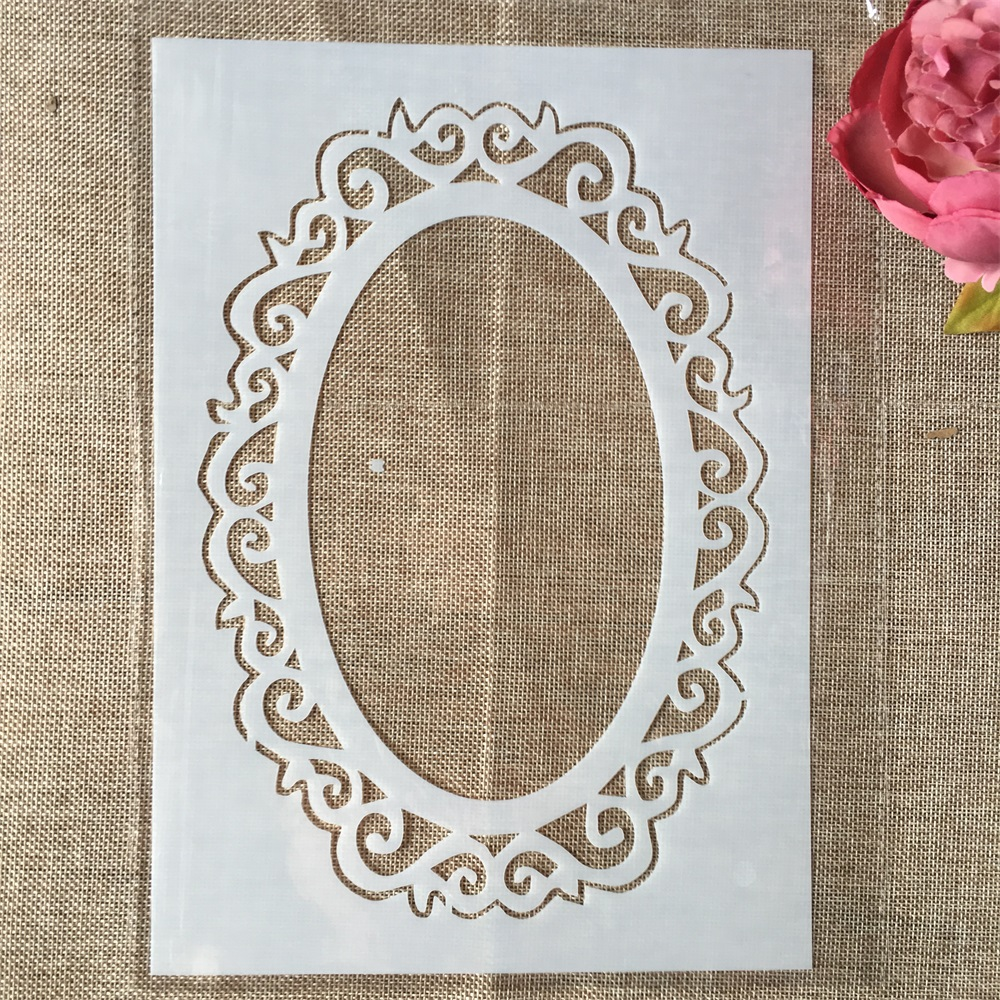 29cm A4 Mirror Oval DIY Layering Stencils Wall Painting Scrapbook Coloring Embossing Album Decorative Template