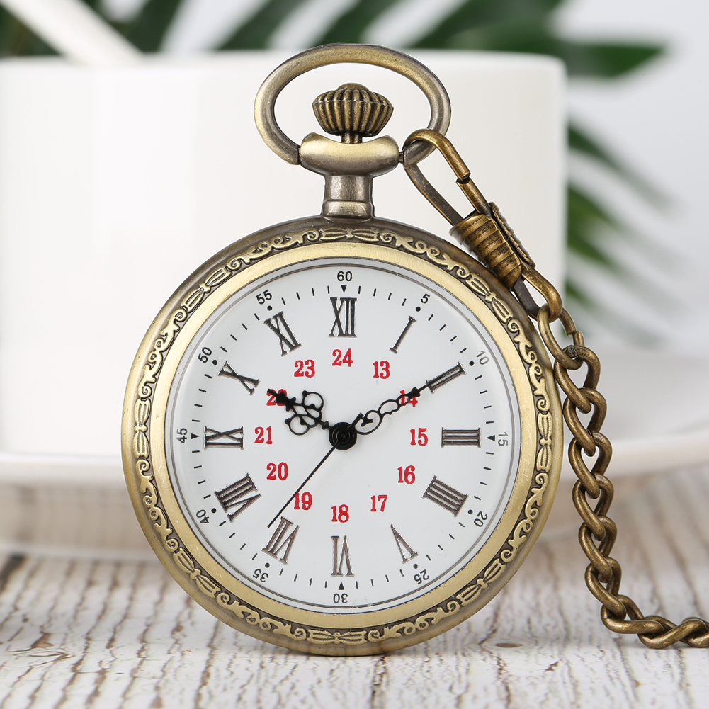 Vintage Steampunk Pocket Watch No Cover Neckalce Clock Roman Numerals Dial Bronze Pendant Watches Fashion Men Women Gift