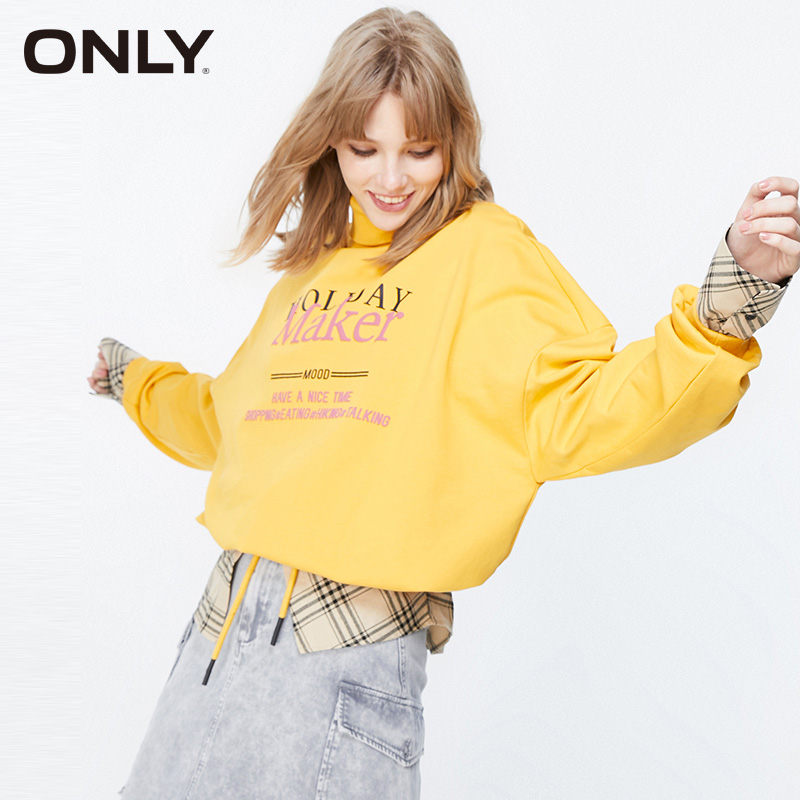 ONLY Loose Fit Fake Two-piece Letter Embroidery Drop-shoulder Sweatshirt |11939S572