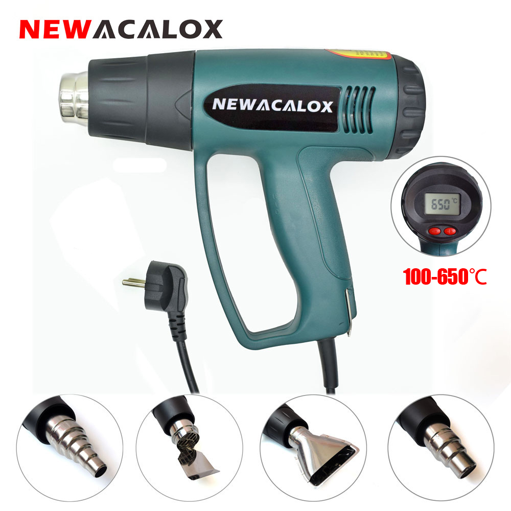 NEWACALOX EU 220V 2000W LCD Display Hot Air Gun Temperature Adjustable Heat Gun 4PC Nozzles for Heat Shrink Home DIY Embossing