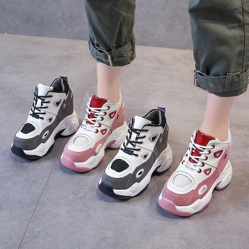 2019 New Women Platform Casual Shoes Breathable Leather Wedge Heels Shoes 10CM Thick Sole Autumn Sneakers Woman Deportivas Mujer in Women 39 s Vulcanize Shoes from Shoes
