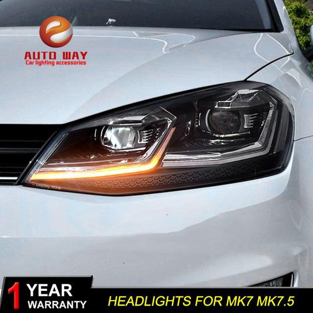 Araba styling için VW golf 7 MK7 MK7.5 farlar 2013 2017 farlar LED far DRL Lens çift kiriş HID ücretsiz kargo