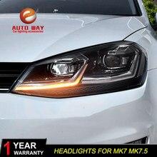 รถจัดแต่งทรงผมสำหรับ VW Golf 7 MK7 MK7.5 ไฟหน้า 2013 2017 ไฟหน้า LED ไฟหน้า DRL เลนส์ DOUBLE BEAM HID จัดส่งฟรี