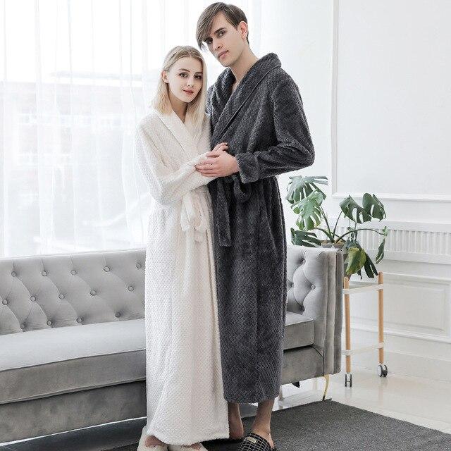 Women Coral Fleece Soft Pocket Sleepwear Bathrobe Warm Long Kimono Nightwear Flannel Winter Casual Home Clothing Negligee
