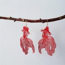 XIALUOKE-pendientes colgantes de pez dorado rojo de China para mujer, aretes bohemios con borla, joyería de Año Nuevo ER0026