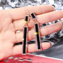Korean Style Geometric Rhinestone Drop Earrings Long Black Rectangle Dangle Earrings for Women Party Jewelry Gift цена и фото