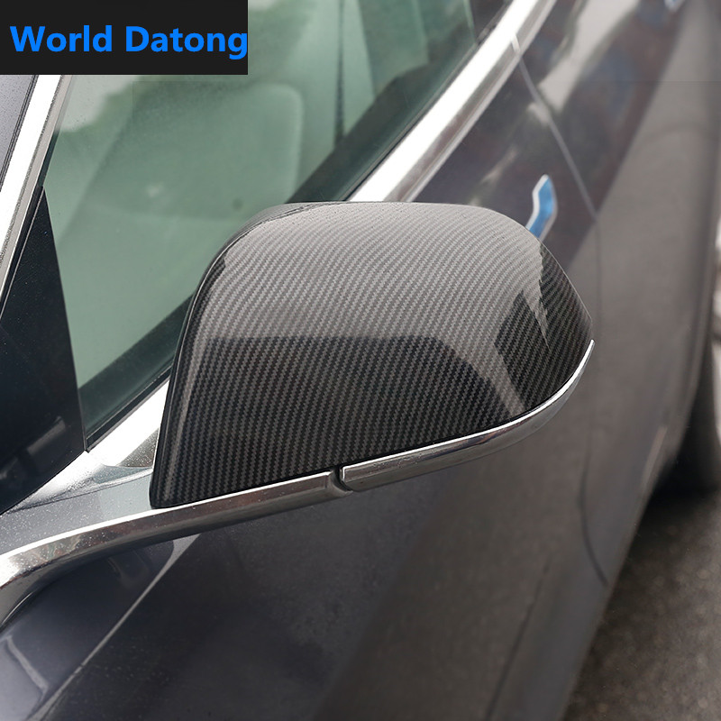 Carbon fiber Drawing Rearview Mirror Cap For Tesla Model 3 2017-2019 ABS Rear View Cover
