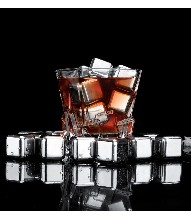 Alcohol - Stainless Steel 304 Stones Ice Cubes Quick Frozen Ice Cubes Whiskey Cooler Rocks 4/6/8pcs Metal Ice Tools With Plastic Box