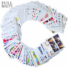 100pcs/lot Nail Sticker Decals Sets Water Transfer Different 100 Designs Beauty Full DIY Tips Nail Charm for Nail Art STZ134 233