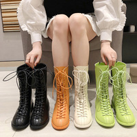 European Wind Women's Boots 2019 Autumn New Candy Color Martin Boots Low heeled Tube Motorcycle Boots Women Botines Mujer