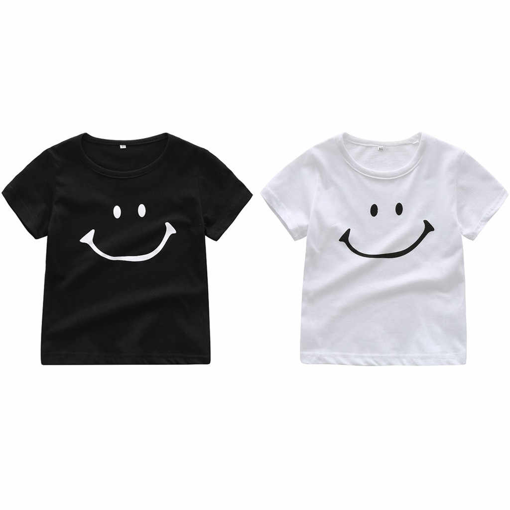 2020 New Summer Baby T-Shirts Cotton Shorts Sleeve T Shirts Toddler Boys Girls O-Neck Smiling Face Cartoon Teen Tops Clothes