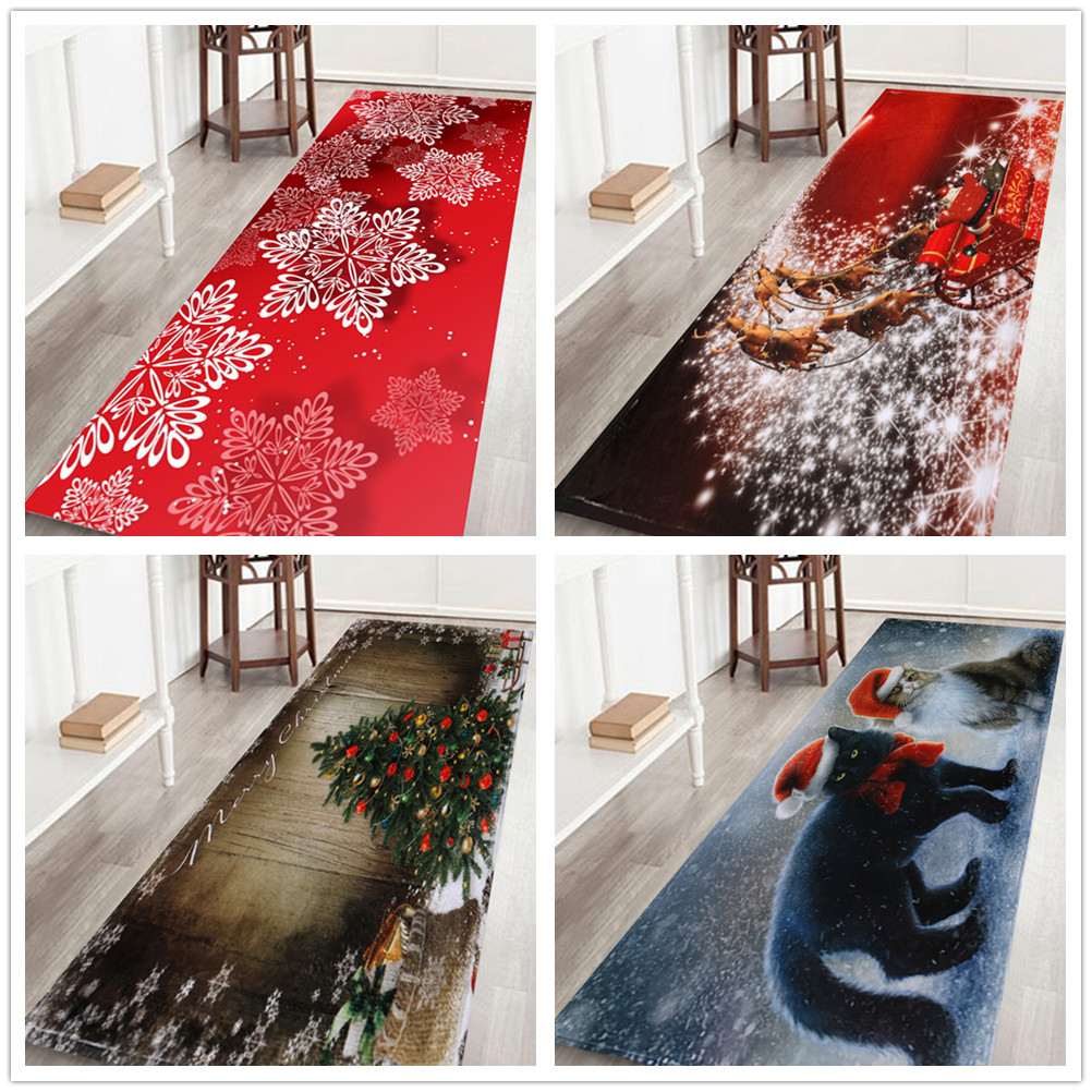 Noël tapis maison chambre porte long tapis de sol anti-dérapant tapis pour la maison salon tapis enfants chambre tapis en fausse fourrure