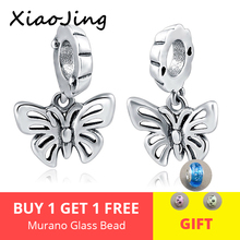 925 sterling Silver Butterfly Beads Pendent Fits Original pandora charm bracelet beads DIY Jewelry Making for women gifts недорого