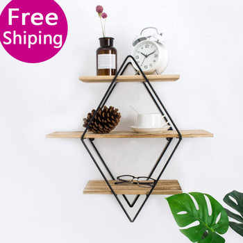 Nordic living room bedroom Metal Wall Shelf racks wrought iron wall hanging wooden wall storage rack creative wall partition