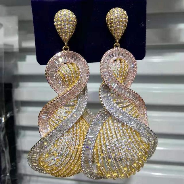 Missviki الفاخرة رائع قلادة إسقاط أقراط كاملة صغيرة تشيكوسلوفاكيا العروس الزفاف الممثل راقصة موعد عرض الحفلات القرط مجوهرات