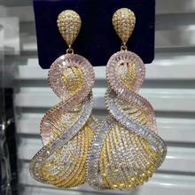 Missvikki יוקרה מדהים תליון טיפת עגילי מלא מיני CZ הכלה חתונה שחקן רקדנית מינוי המפלגה להראות עגיל תכשיטים