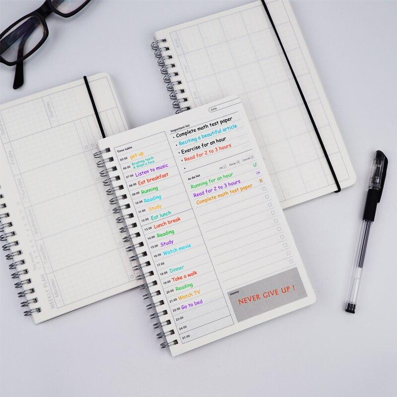 Новый 2021 ноутбуки повестки дня ежедневно еженедельно ежемесячно план Органайзер, скрепленный спиралью A5 записные книжки на прозрачный график Ежедневник для планирования дня