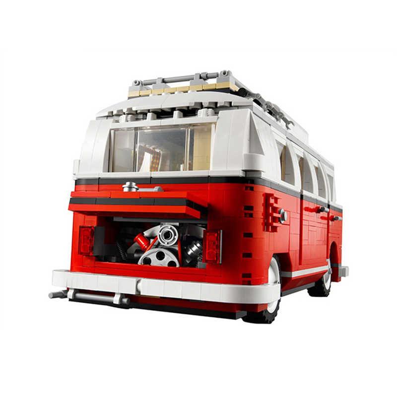 Tersedia 1354 Pcs Mobil Bluding Blok Volkswagen T1 Kemping Van Blok Kompatibel Legoinglystechnic Ideas 10220 Batu Bata Mainan 21001