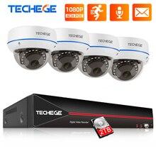 Techege H.265 4CH 1080P POE NVR אבטחת CCTV מערכת ערכות 2MP POE IP מצלמה כיפת Vandalproof עמיד למים מעקב וידאו ערכת
